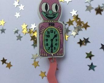 Kit Cat Clock Brooch