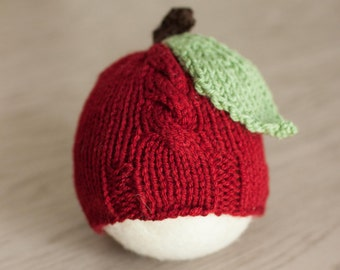 Newborn Apple Hat, Red Apple Newborn Hat, Knit Newborn Autumn Hat, Apple Newborn Photo Prop Hat