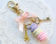 Pastel Macaron Trio Eiffel Tower Keychain, Purse or Bag Charm, Cute And Kawaii :D
