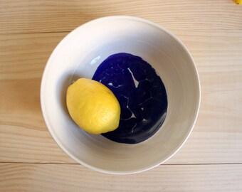White and blue bowl Ceramic bowl Multipurpose wheel thrown bowl Stoneware serving - Ready to ship