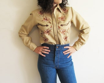 Vintage 70s Rockabilly Kenny Rogers Karman Tan Western Novelty Shirt