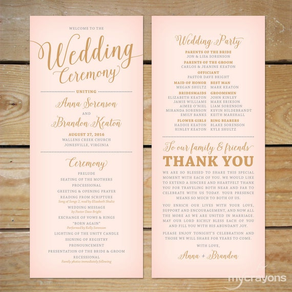 Unique Wedding Reception Program Ideas: Blush Pink And Gold Wedding Program Printable // Printable