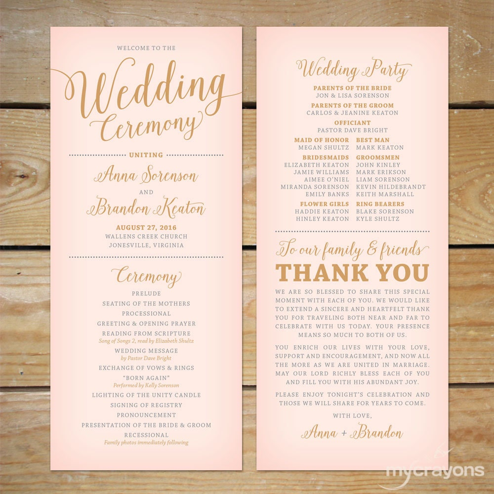 Blush Pink And Gold Wedding Program Printable // Printable