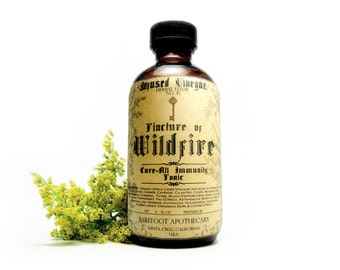 Extra Strength Wildfire Tonic, Thieves Vinegar. Herbal Immunity Tonic for Cold and Flu. 26 Herb Formula with Echinacea, Goldenseal & Mullein