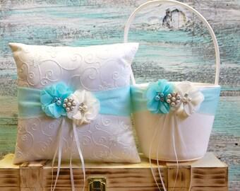 Your Colors , Flower Girl Basket and Ring Bearer Pillow Set , Aqua Blue Ring Bearer Pillow , Flower Girl Basket ,Wedding Pillow
