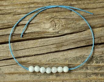 Aquamarine Bracelet, Wish Bracelet, Chakra Bracelet, Throat Chakra, Hemp Bracelet, Crystal Healing, Meditation Bracelet, Yoga Bracelet