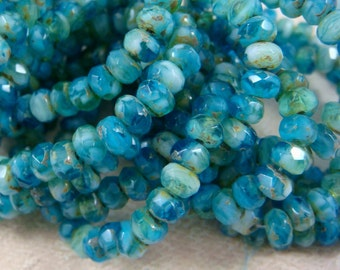 Czech Beads, 5x3mm Rondelle, Czech Glass Beads - Blue and White with Picasso (R5/RJ-1593) - Qty 30