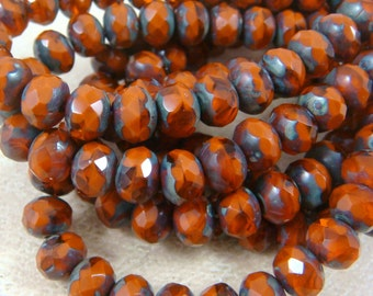 Czech Beads, 7x5mm Rondelle, Czech Glass Beads - Dark Orange Two Tone  (R7/N-0459) - Qty. 25