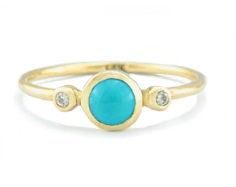 Turquoise and Diamond Gold Ring 14k Yellow White Rose Gold Natural Turquoise Diamond Gold Ring Made in Your Size Turquoise Engagement Ring
