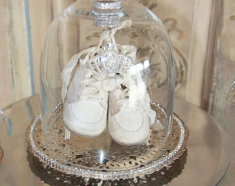 Display cloche, glass dome, antique baby shoes, Mediterranea, gifts for her,antique french, glass cloche, white baby shoes, vintage french