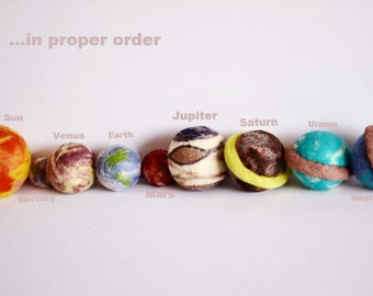 set of 9, Large size Solar System, The Sun & 8 Planets. Space, science, learning toy, wool toys, handmade toys, art toys, wooly topic