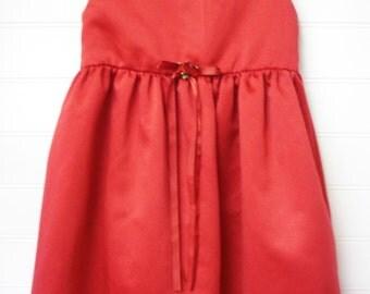 Toddler Dress, Christmas Dress, Vintage Toddler Dress, Girls Christmas Dress, Satin Christmas Dress, Red Christmas Dress, Size 4 Toddler