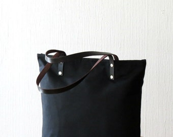 Waxed Canvas Bag Black, Large Canvas Black Tote with leather handles, Handmade, Purse, Handbag, Shoulder Bag