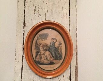 Vintage  Miniature La Mode print framed