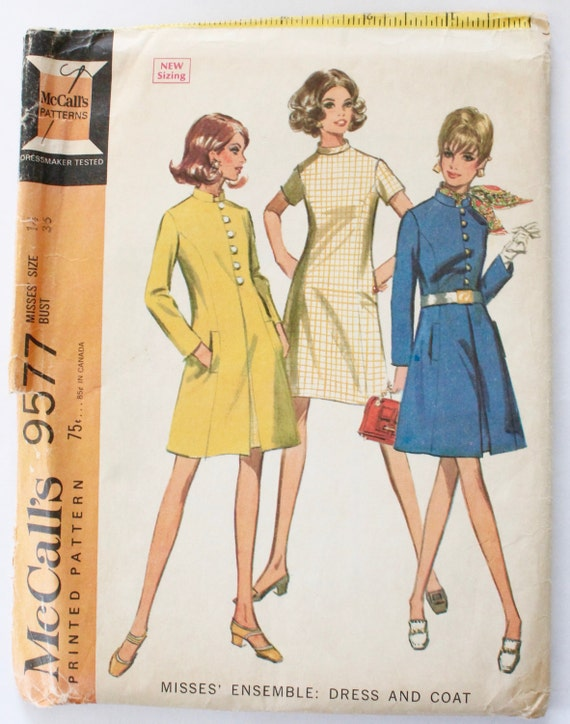 Shirt Dress Pattern Vintage 1960s Womens Collared Button Down
