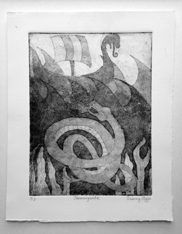 Jörmungandr Norse Mythology Intaglio Art Print Loki Vikings
