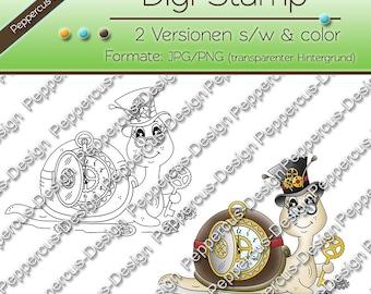 Digi stamp set - gear worm / E0046