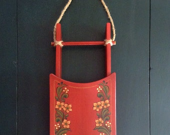 Hand Painted Decorative Small Red Sled