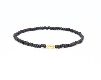 Beaded Bracelet in 18K Solid Yellow Gold - Beach Boho Stretch Cord - Czech Glass Matte Black - Men Women Unisex Gift Him Her