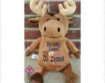 Moose Personalized Stuffed Animal Baby Cubbies -  Moose - Deer - Embroidered - Stuffed Animal - Birth Announcement - Baby Gift - Birth Stats