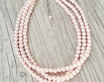 Blush pearl necklace, Beautiful blush,Blush pearl bridesmaid gift, Baby pink Soft pink pearl necklace,Blush jewelry,pink pearl necklace