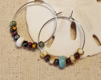 Asymmetrical Hippie Hoop Earrings - Asymmetrical Earrings - Hippie Earrings - Hoop Earrings