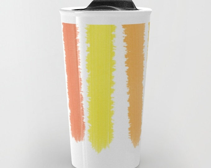 Orange Travel Mug Ceramic - Striped Travel Mug - Orange and Yellow - Hot or Cold Travel Mug - 12oz Travel Mug -Made to Order