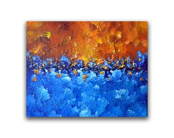 Large abstract landscape painting , Modern home office decor, 30 x24 Heavy textured impasto painting, blue canvas wall art