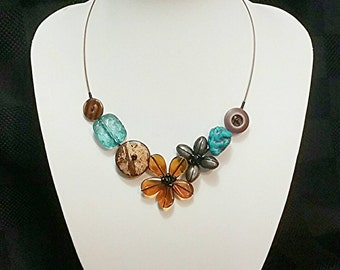 Colourful necklace, Tropical necklace, Flower necklace, Girly necklace, Turquoise necklace, Brown necklace, Lightweight necklace