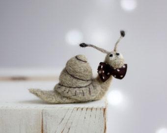 Needle Felted Snail - Felt Snail With A Brown Tie - Needle Felt Art Doll - Snail Miniature - Summer Home Decor - Snail Art Doll - Boho Decor