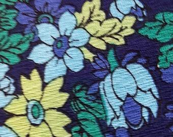 70's Flower power fabric blue 2 metres