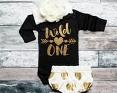 Wild One First Birthday Baby Girl Shirt Birthday Gold Birthday Shirt 1st Birthday Girl First Birthday Shirt 1st Birthday Outfit #116