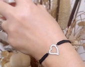 925silver love bracelet, silver heart macrame bracelet circle bracelet double snowflake bracelet heart bracelet, girlfriend gifts #etsyfinds