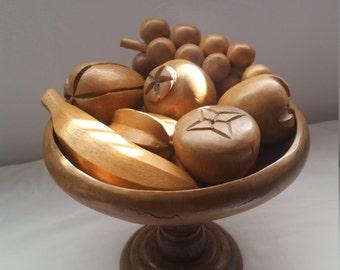 Vintage wood fruit and pedistal bowl 8 piece kitschy centerpiece set