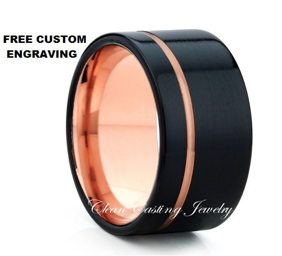 Black Tungsten Ring Rose Gold Wedding Band By CleanCastingJewelry