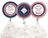 CUSTOM Baseball Cupcake Toppers, Baseball Shower Decor, Red & Navy Bridal Shower, Sports Theme Shower, Printable Toppers, #24