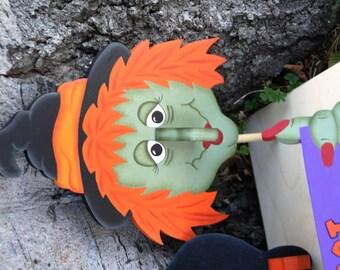 Witch Halloween Pumpkin Dress Up - Wood Outdoor Sign Decoration