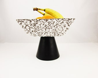 Pedestal Bowl - Square Bowl With Grey Lava Texture Glaze - From the 1950s - Square Shape - Lava Glaze - Flat Black Cone Pedestal