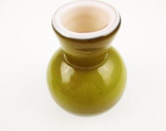 """An 'Ekenas Glasbruk' Vase - Swedish Amber Glass Vase With Inner White Casing - 3 1/4"""" Tall - Ekenas, Sweden - Scandinavian Glass"""