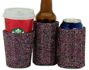Beverage Insulator #Party Multi Sparkle Fabric PocketHuggie-Handmade,Folds Flat,Cold/Hot Cups,Solo Cup,Starbucks-3 SIZES:CUP,CAN,GlassBottle