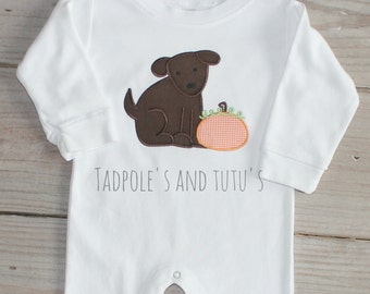 Dog and Pumpkin Romper, Personalized Doggie Romper, Dog Applique Romper