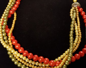 Four Strand Sixties Beaded Necklace