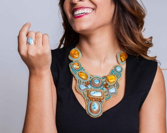 Larimar Bib Necklace, Amber Bib Necklace, Embroidered Necklace, Tribal Collection