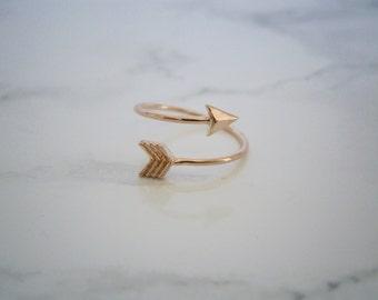 Rose Gold Arrow Ring / Adjustable