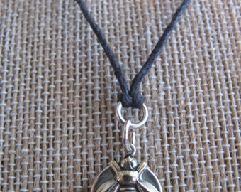Bumble Bee Honey Bee Sterling Silver and Natural Hemp Pendant Necklace Handmade- Toniraecreations