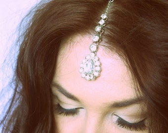 Crystal Tikka Indian Jewelry Headband Headpiece Headchain Grecian Bride Wedding Bridal