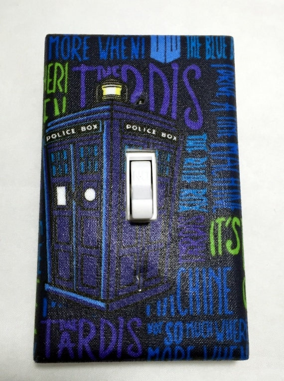 Tardis dr who light switch plate cover outlet cover scifi for Tardis light switch cover