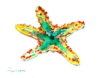 Starfish original watercolor 12 x 9 in