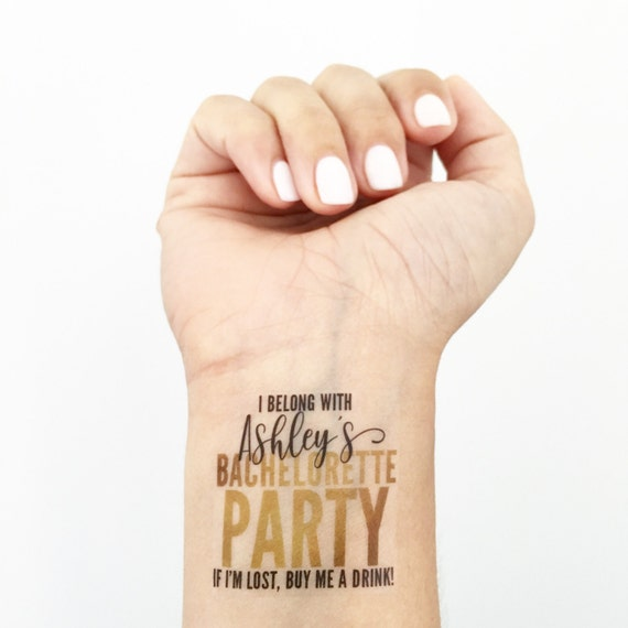 15 Custom Bachelorette Party Temporary Tattoos- Glam Gold