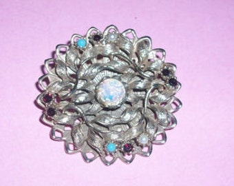 Vintage Gold Tone Costume Opal Brooch As Is
